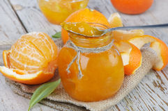 Orange jam. On a wooden table Royalty Free Stock Images