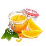 Orange jam. Fresh orange jam on white ground Stock Photos