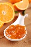 Orange jam. Fresh fruit with orange jam Royalty Free Stock Photography