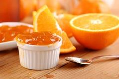 Orange jam. Fresh fruit with orange jam Royalty Free Stock Images