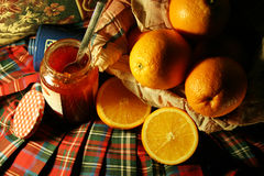 Orange & jam. Orange on basket & jam royalty free stock images