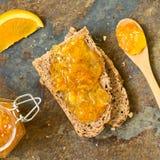 Orange Jam on Bread Stock Images