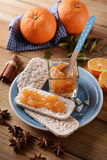 Orange jam with cracker puffed rice Stock Photography