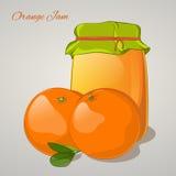 Orange jam in a jar and fresh orange on grey background. Simple cartoon style. Vector illustration. Orange jam in a jar and fresh orange isolated on grey Royalty Free Stock Image