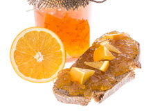 Orange Jam in Jar with fruits Royalty Free Stock Photos