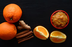 Orange jam. Made with cinnamon and ginger Stock Photography