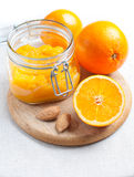 Orange jam and ripe oranges Stock Photos