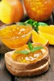 Orange jam on toast Royalty Free Stock Photos