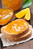 Orange jam on toast Stock Image