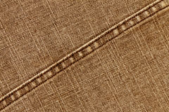 Orange jeans cloth texture with stitch. Stock Images