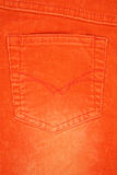 Orange jeans pocket texture Stock Photo