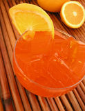 Orange jello dessert. Orange flavored jello dessert with orange slice Stock Photos