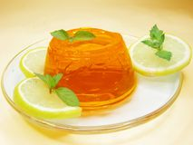 Orange jelly dessert Royalty Free Stock Photo