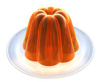 Orange Jelly on Dessert Plate. Moulded Jelly dessert set out on glass serving plate Royalty Free Stock Photo