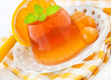 Orange jelly with physalis Stock Image