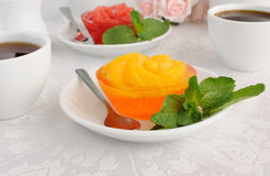 orange jelly with slices of fresh orange Royalty Free Stock Image
