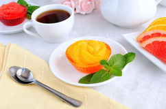 orange jelly with slices of fresh orange Stock Images
