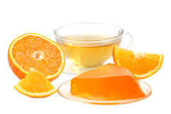 Orange jelly and tea Stock Images