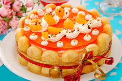 Orange jelly and whipped cream torte royalty free stock images