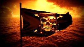 Orange Jolly Roger Pirate Ship Flag Intro Logo Motion Background stock video