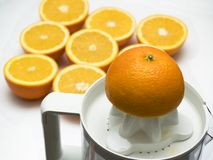 Orange juice [1]. Orange juice pressing Stock Photos