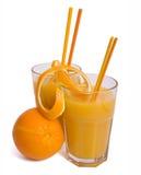 Orange juice. A glass of orange juice isolated on a white background Stock Images