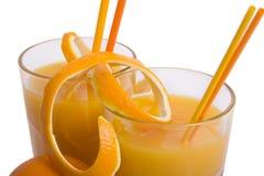 Orange juice. A glass of orange juice isolated on a white background Royalty Free Stock Image