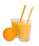 Orange juice. A glass of orange juice isolated on a white background Royalty Free Stock Photo