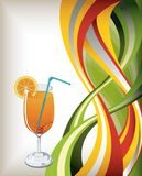 Orange juice. Vector of orange juice on abstract curve background Royalty Free Stock Images