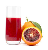 Orange juice. Italian Sanguinella Sicily Orange on white background Royalty Free Stock Images