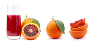 Orange juice. Italian Sanguinella Sicily Orange on white background Royalty Free Stock Photography