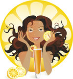 Orange juice. Illustration of a girl preparing or ready to drink orange juice Royalty Free Stock Photo
