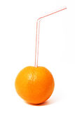 Orange Juice. An orange with a straw inserted, isolated on a white background stock photos
