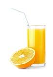 Orange juice. Ripe orange and freshess juice on white Royalty Free Stock Photo