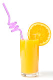 Orange juice. Glass with orange juice and straw over white Royalty Free Stock Images