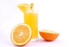 Orange juice. And half-cut oranges isolated on white stock images