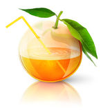 Transparent orange with juice royalty free stock photography