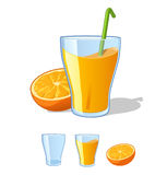 Orange juice. In a glass beaker with a straw Stock Photography
