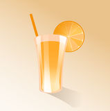 Orange juice. Illustration of an orange juice in a glass with a straw Royalty Free Stock Image