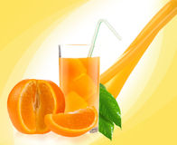 Orange juice. On yellow background Royalty Free Stock Photos