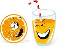 Orange and juice. Happy smiling orange and juice cartoon characters isolated on white background Royalty Free Stock Photos