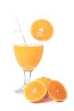Orange and juice. Orange juice, two half and one whole orange fruits Stock Image