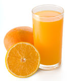 Orange juice. Glass of orange juice, a hole orange and a half orange on white background stock photo