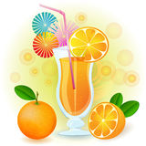 Orange juice. With fresh fruits Stock Photos