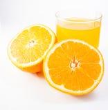 Orange juice. And slices of orange  on white background Stock Photo