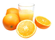 Orange Juice. Oranges and juice on white background Royalty Free Stock Photo