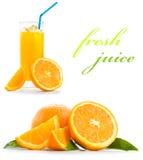 Orange juice. Fresh orange juice on a white backgound Royalty Free Stock Photo