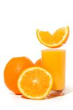 Orange juice. Glass of orange juice, and oranges on white background stock image