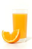 Orange juice. Glass of orange juice, and oranges on white background stock photography
