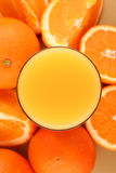 Orange juice. On oranges background close up stock image